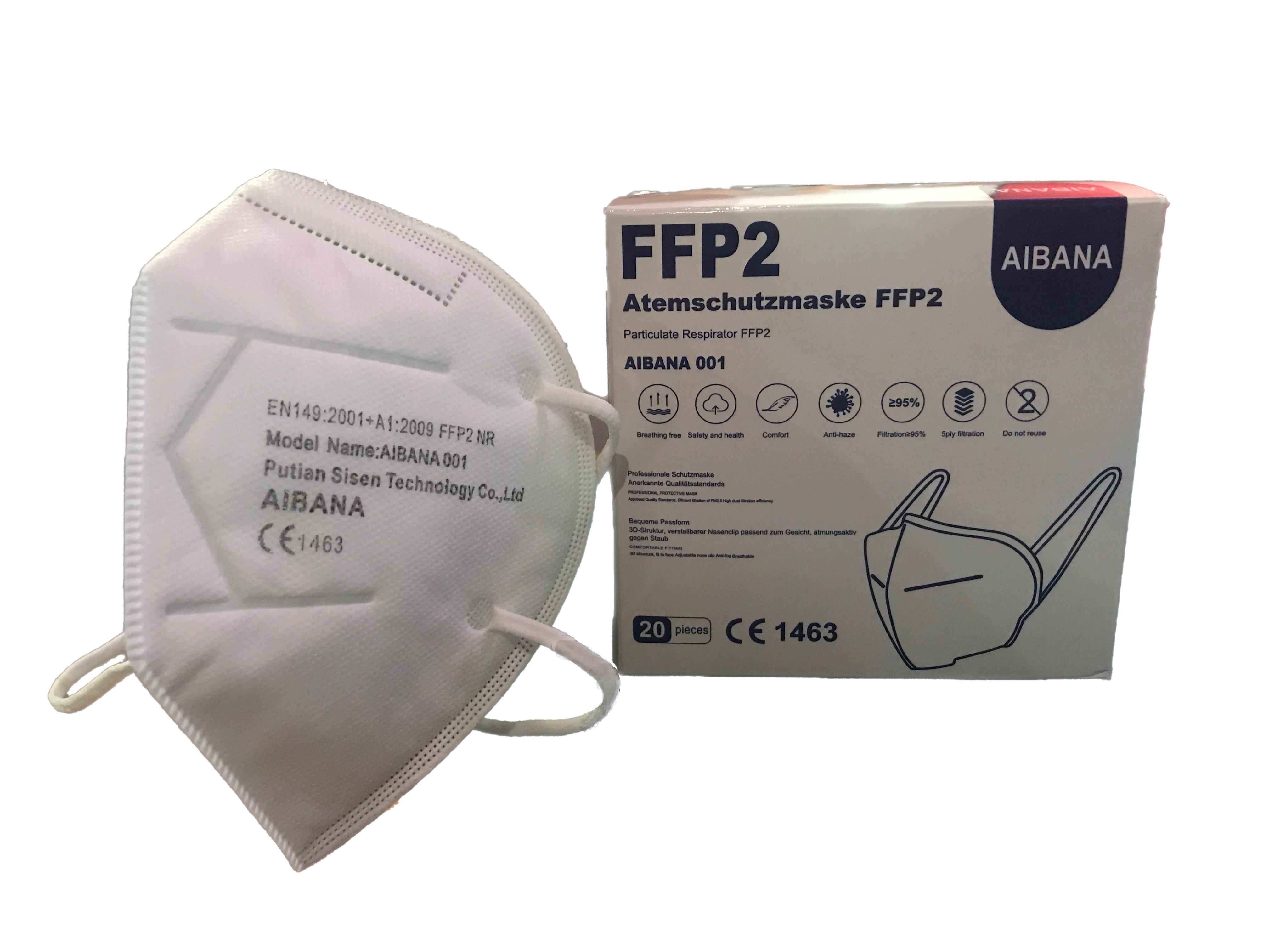 FFP2 NR Masken Aibana Modell 001 - 20 Stück einzeln verpackt