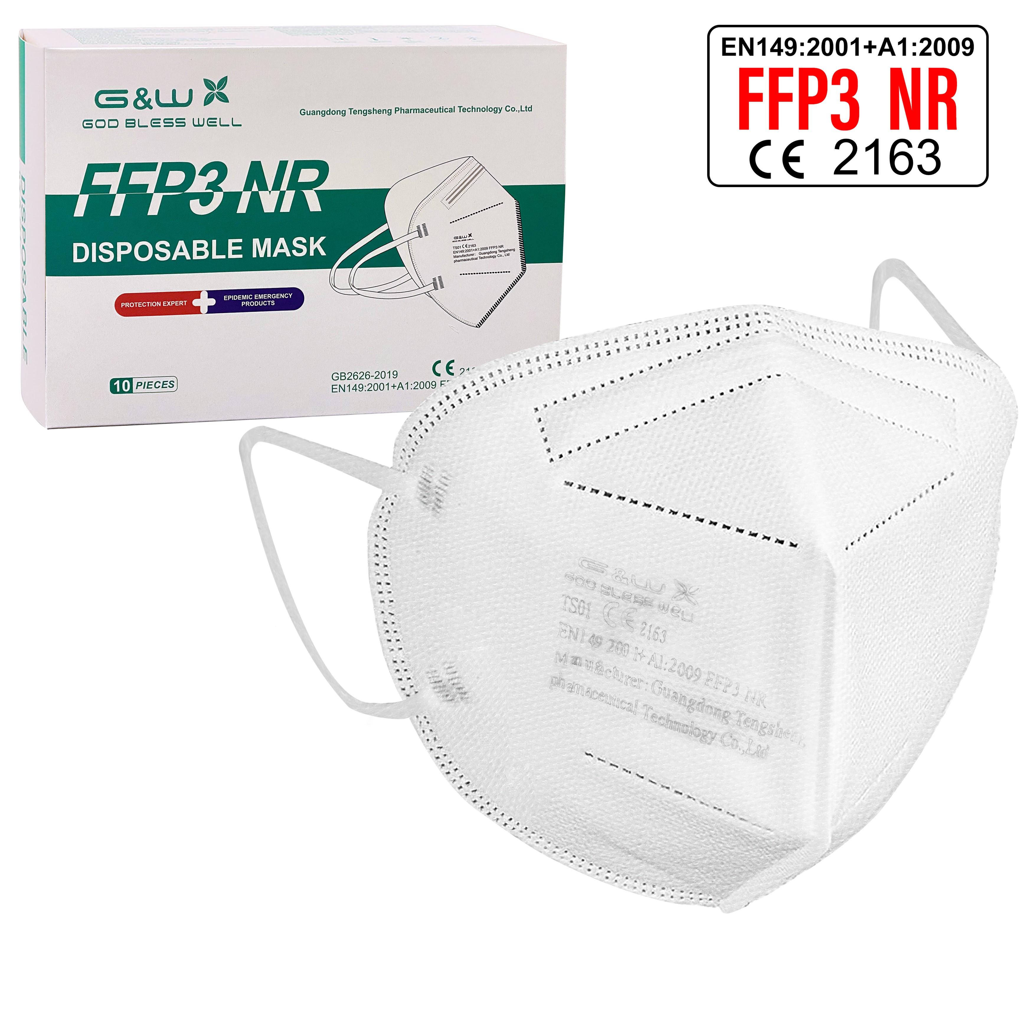 FFP3 NR Atemschutzmaske G&W  10 Stück einzeln verpackt